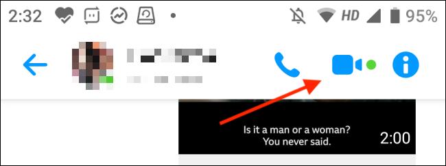 Tippen Sie auf die Schaltfläche Video in Facebook Messenger auf Android