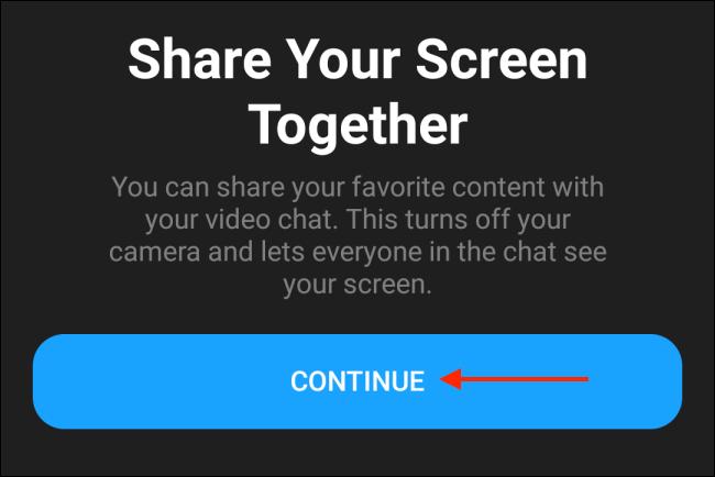 Tippen Sie im Messenger für Android auf Weiter