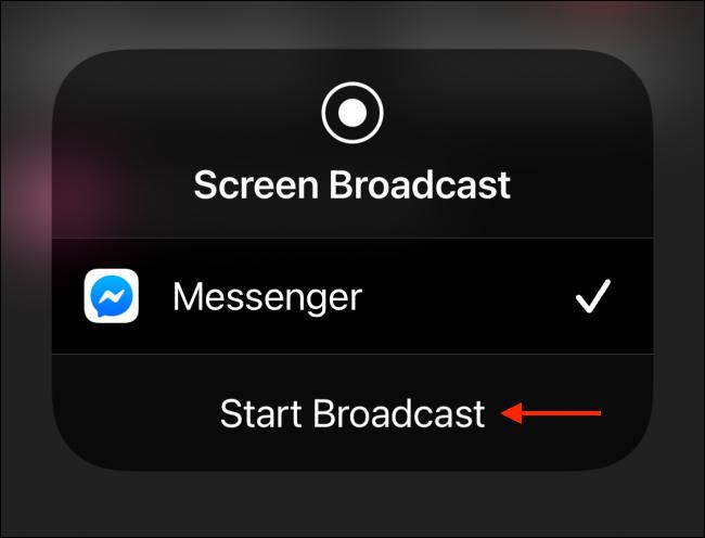 Tippen Sie auf dem iPhone auf Broadcast starten