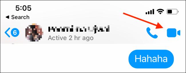 Tippen Sie auf dem iPhone Messenger auf dem iPhone auf die Schaltfläche Video