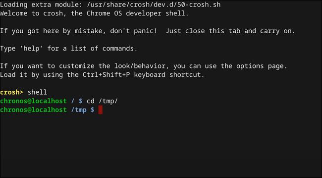Chrome OS Shell im Verzeichnis tmp