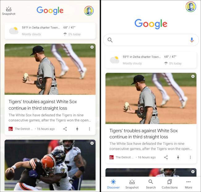 Google Discover in einem Launcher und in der Google App.