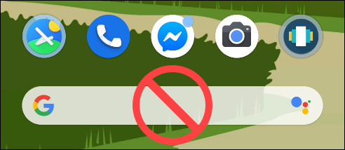 Der Google Search Pixel Launcher ohne Symbol.