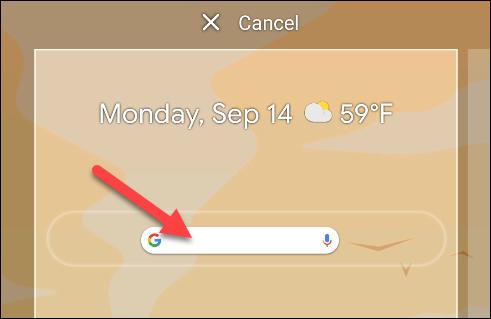 Legen Sie das Widget auf dem Startbildschirm an der gewünschten Stelle ab.