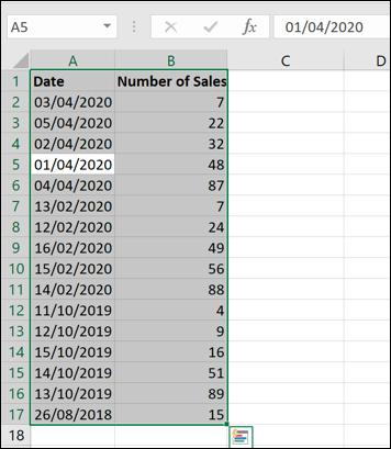 Unsortierte Daten in einer Excel-Arbeitsmappe.