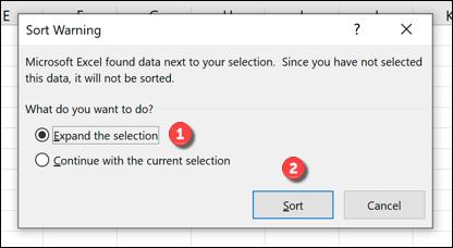 Sortierwarnfeld Excel