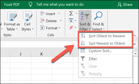 """Um Excel-Daten in aufsteigender oder absteigender Reihenfolge zu sortieren, klicken Sie auf Sortieren & Filtern> Älteste nach Neueste sortieren oder Neueste nach Älteste sortieren"""" width=""""450″ height=""""271″ onload=""""pagespeed.lazyLoadImages.loadIfVisibleAndMaybeBeacon(this);"""" onerror=""""this.onerror=null;pagespeed.lazyLoadImages.loadIfVisibleAndMaybeBeacon(this);""""/></p> <p>Sobald Sie Ihre bevorzugte Option ausgewählt haben, sortiert Excel die Daten automatisch in dieser Reihenfolge, wobei die Datumsspalte als Referenzpunkt verwendet wird.</p> <p>Das erste Datum (unter Ihrer Spaltenbezeichnung) ist das früheste oder späteste Datum im Satz.</p> <p><img class="""
