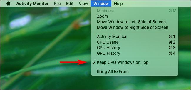 """Klicken """"Fenster"""" Klicken Sie in der Menüleiste auf """"Halten Sie CPU Windows an der Spitze."""""""