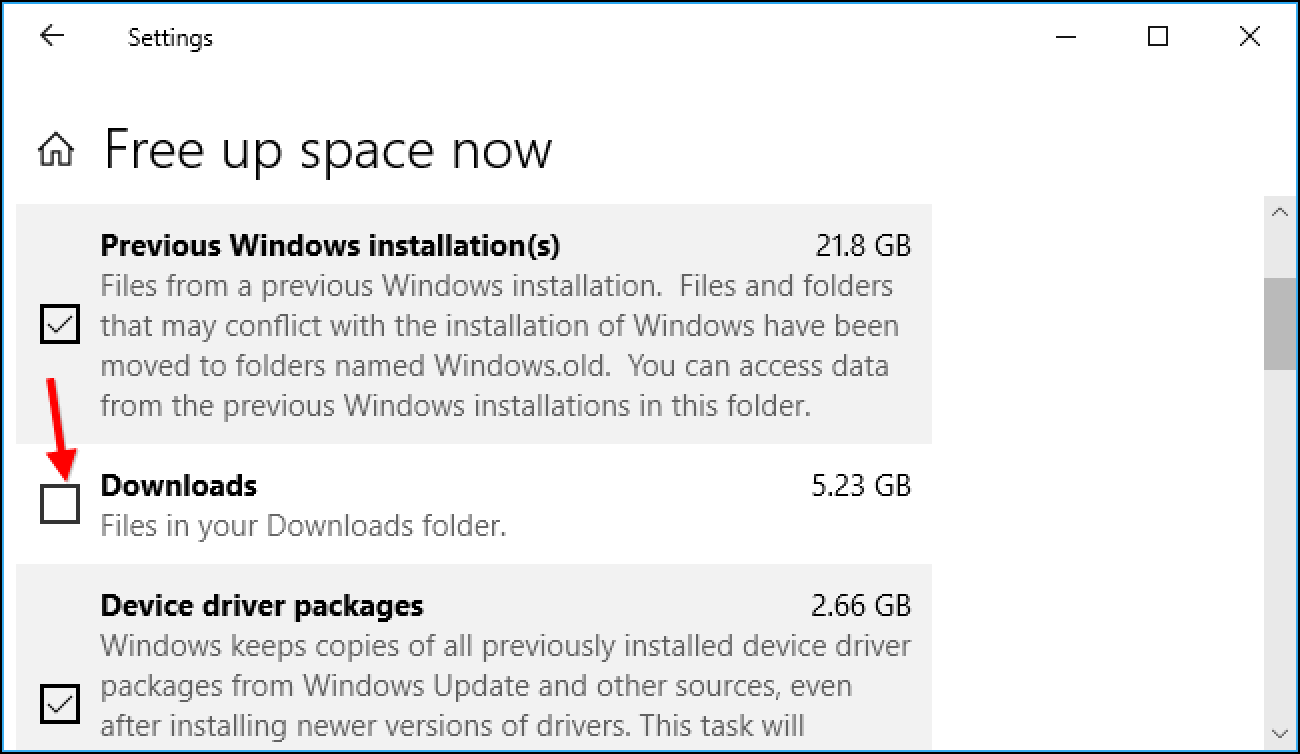 Windows 10 'Free Up Space' kann Ihren Download-Ordner leeren