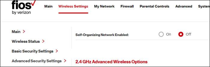"""Das """"Selbstorganisierendes Netzwerk aktiviert"""" Option auf einem Fios-Router."""