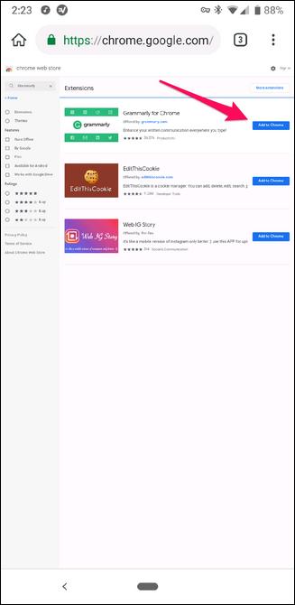 Installieren einer Chrome-Erweiterung im Kiwi-Browser