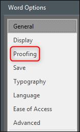 Proofing in Word-Optionen