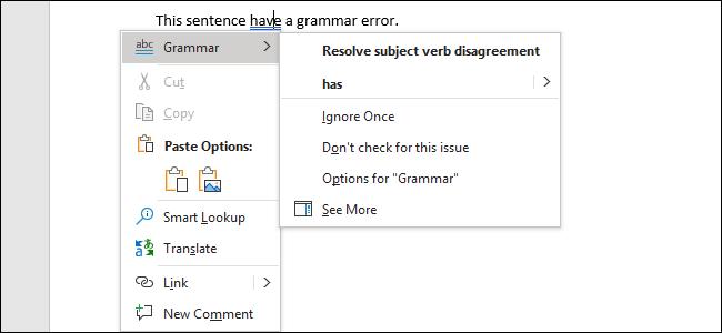 Behebung eines Grammatikfehlers in Word 2019 für Office 365