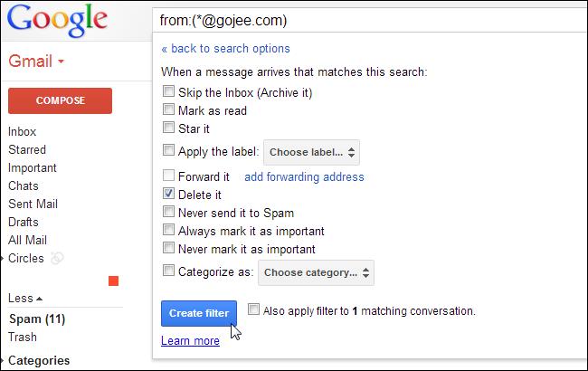 E-Mails automatisch in den Papierkorb senden