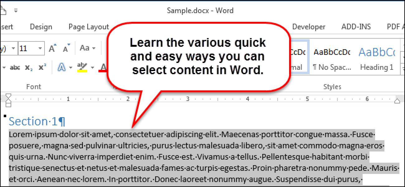 So wählen Sie schnell und einfach Inhaltsblöcke in Word aus