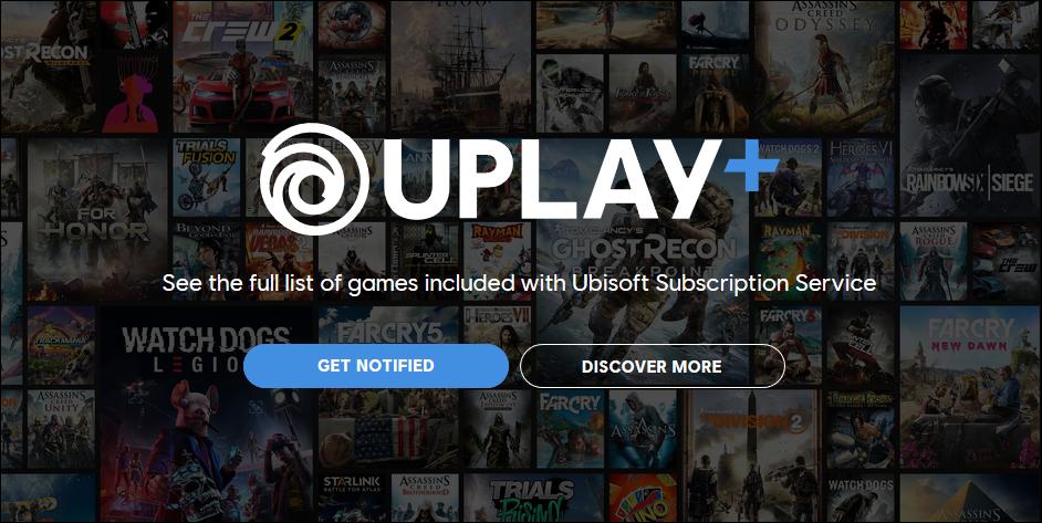Uplay Plus-Logo auf dem Hintergrund mehrerer Titelbilder von Videospielen.