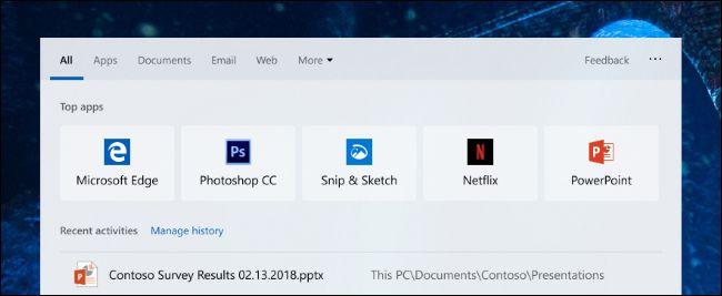 Top-Apps im neuen Suchdialog von Windows 10