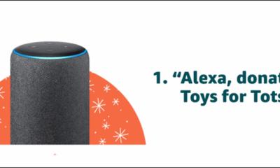 """Spenden Sie an Toys for Tots, indem Sie """"Alexa, Spenden Sie an Toys for Tots"""" sagen."""