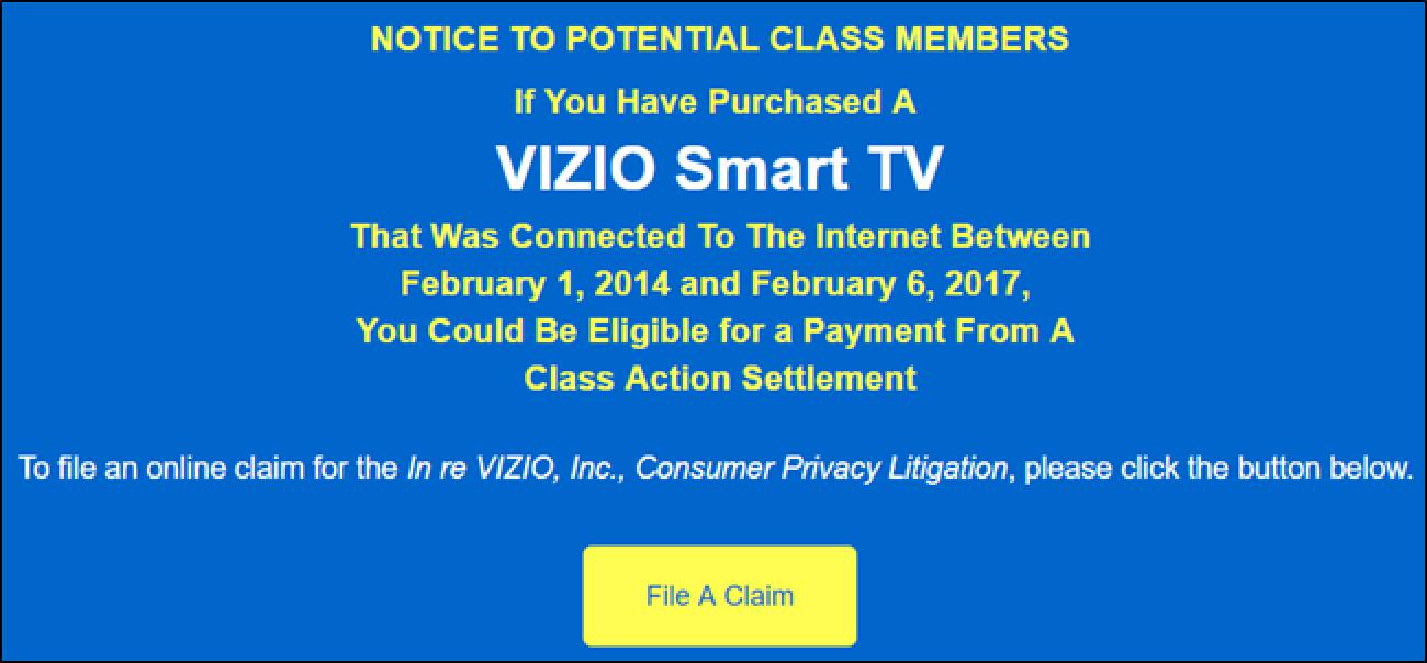 So erhalten Sie Abrechnungsgeld, wenn Sie einen Vizio Smart TV gekauft haben