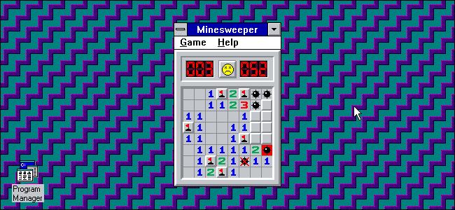 """Das ist fehlgeschlagen """"Minensuchboot"""" Spiel unter Windows 3.11."""