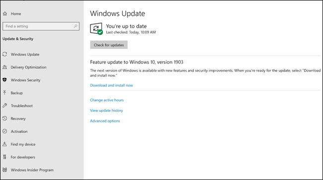 Windows Update-Dialogfeld mit dem Update vom Mai 2019.