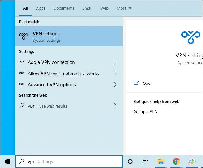 Durchsuchen des Startmenüs von Windows 10 nach VPN-Einstellungen