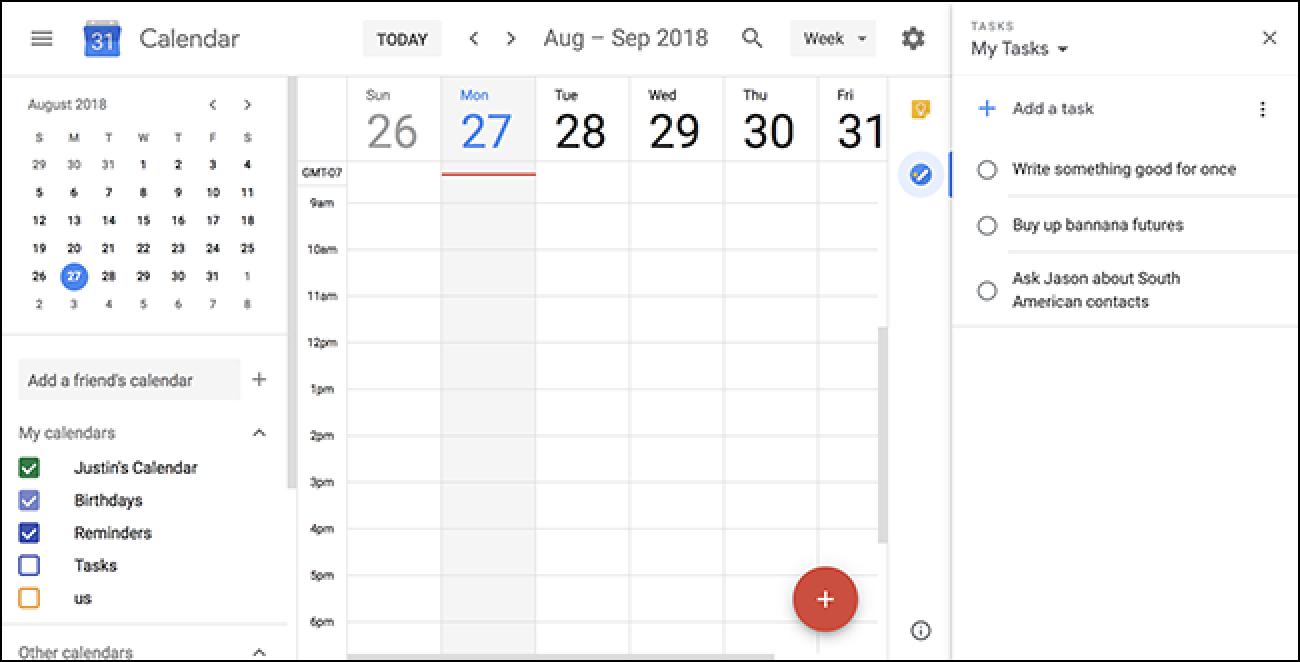 In Google Text & Tabellen und Google Kalender wird ein Seitenbereich im Google Mail-Stil angezeigt