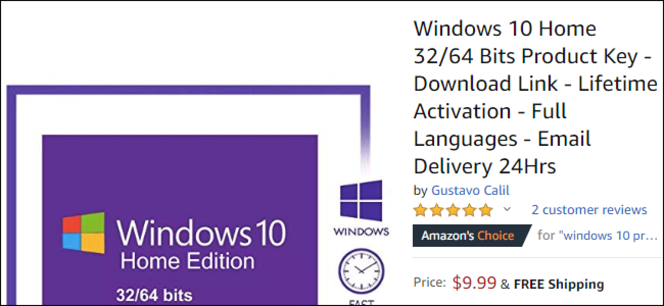 Vorsicht vor Fälschungen beim Kauf von Windows 10 bei Amazon