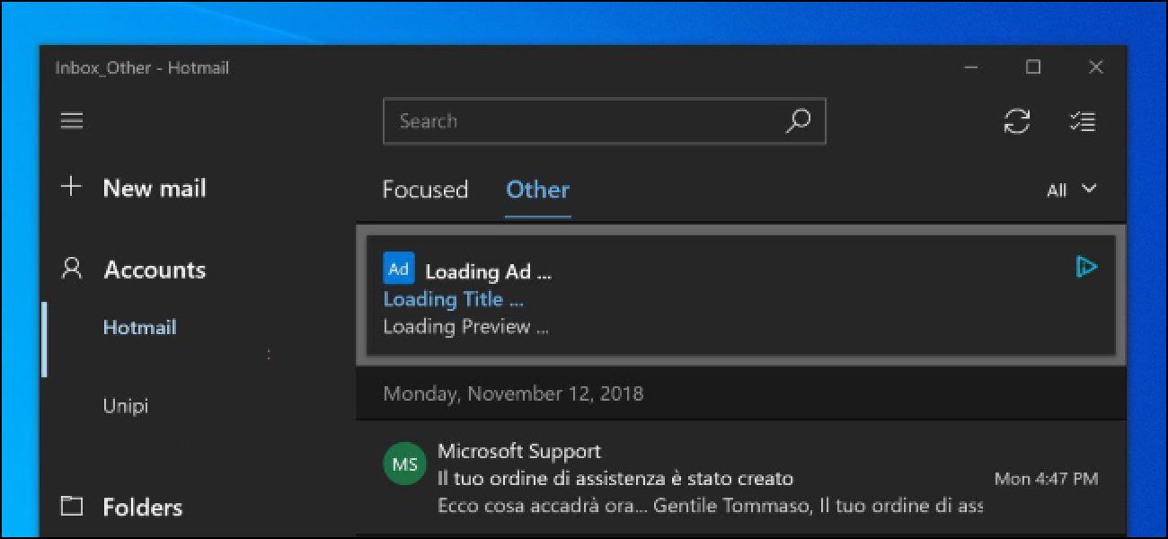 Microsoft hat gerade Anzeigen in Windows 10 Mail eingepfercht.  Wann werden sie aufhören?