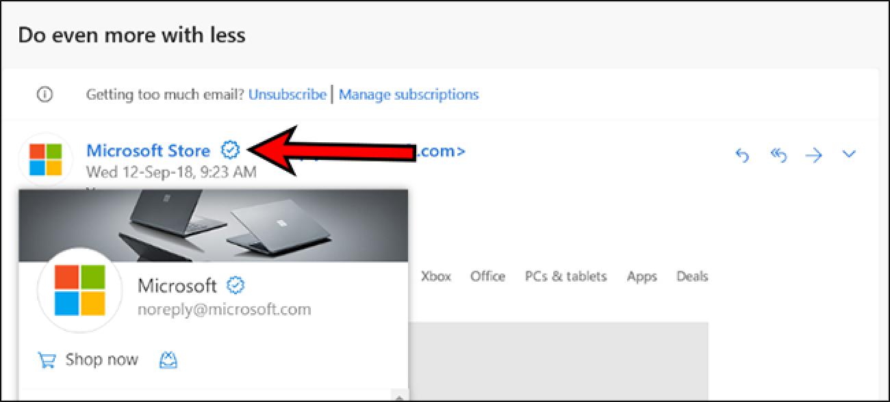 Outlook.com fügt ein verifiziertes Symbol für Unternehmen hinzu.  Wird das helfen, Phishing zu bekämpfen?