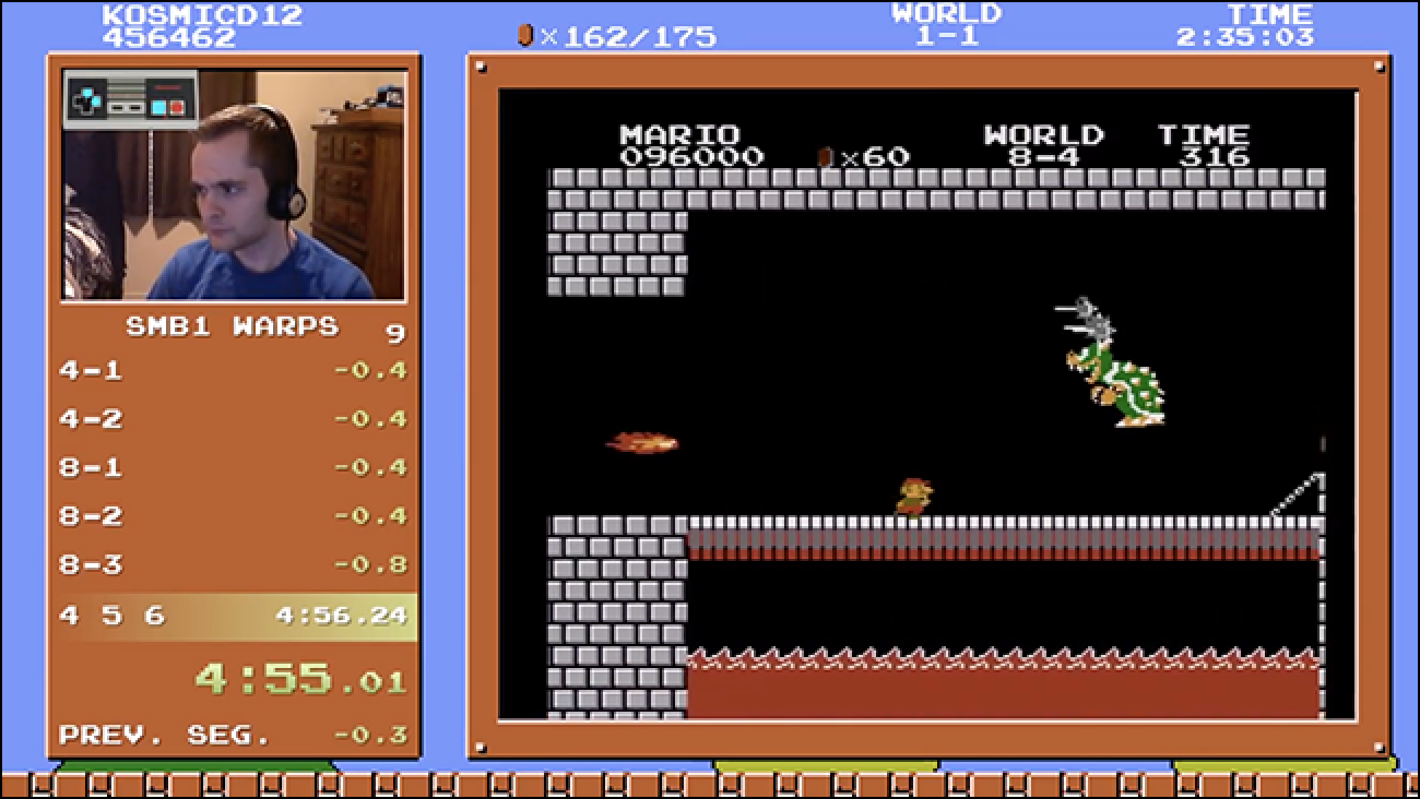 Sehen Sie, wie dieser Verrückte Super Mario Bros. in vier Minuten und 55 Sekunden besiegt