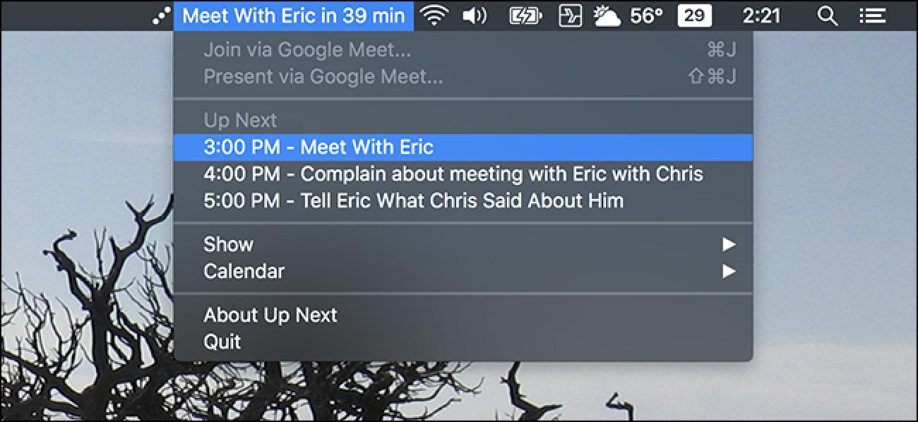 Nach oben Weiter Zeigt Ihre Kalendertermine in der macOS-Menüleiste an