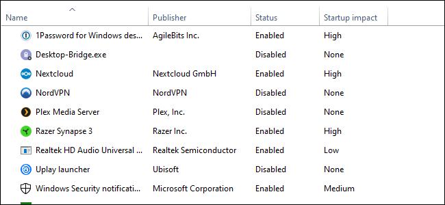 Der Windows 10 Task-Manager, vierspaltige Textliste auf weißem Hintergrund