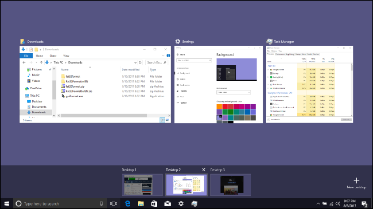 So verwenden Sie virtuelle Desktops in Windows 10