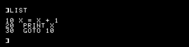 """Das """"Liste"""" des """"10 X = X + 1,"""" """"20 DRUCKEN X,"""" und """"30 GOTO 10"""" BASIC-Programm in Apple II."""