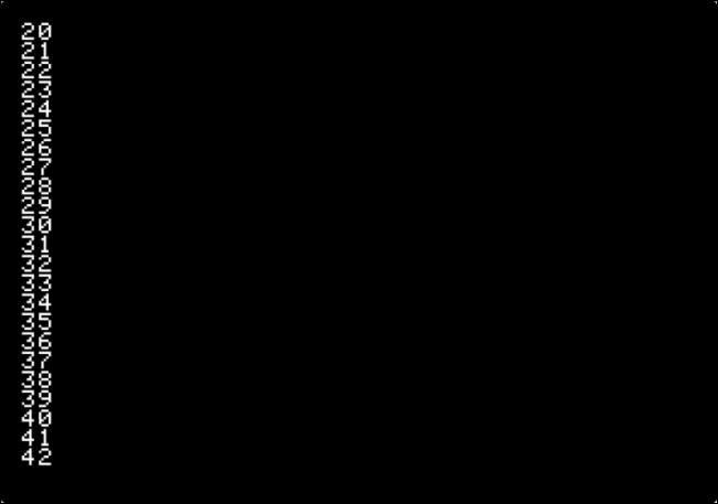 Ausgabe aus dem Zählprogramm in Apple II.