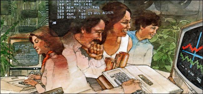 """Eine Illustration von Personen, die Apple II-Computer verwenden """"Applesoft BASIC Handbuch"""" veröffentlicht 1978."""