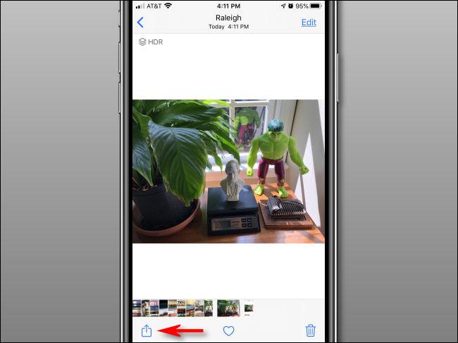 Tippen Sie in der Foto-App auf die Schaltfläche Teilen.