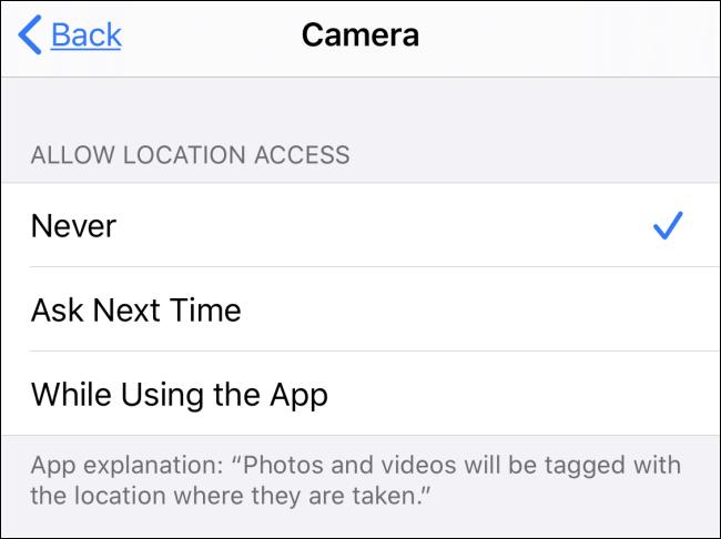 """Das """"Standortzugriff zulassen"""" Abschnitt in der Kamera-App."""