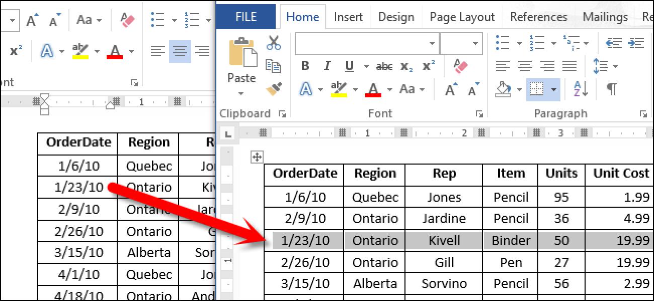 So verschieben Sie schnell eine Zeile in einer Word 2013-Tabelle