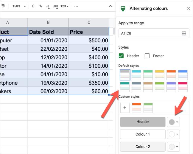 """Das """"Wechselnde Farben"""" Panel in Google Sheets."""