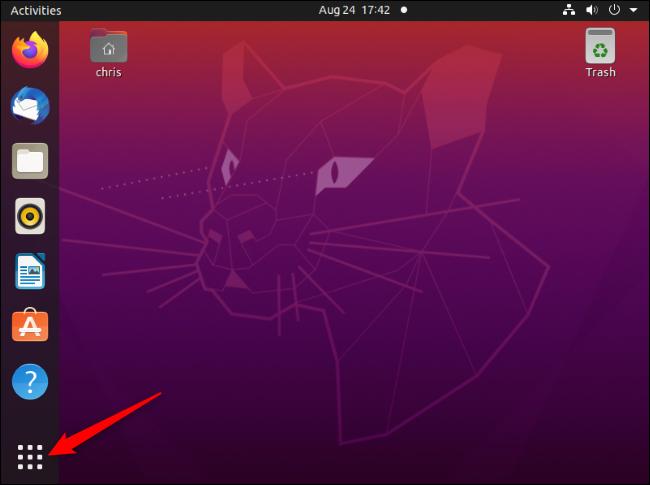 """Das """"Anwendungen anzeigen"""" Schaltfläche in der unteren linken Ecke eines Ubuntu-Desktops."""