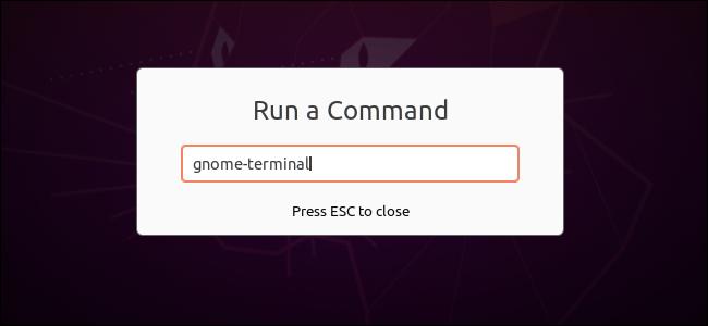 Ausführen eines Befehls zum Öffnen eines Terminals im GNOME-Dialogfeld
