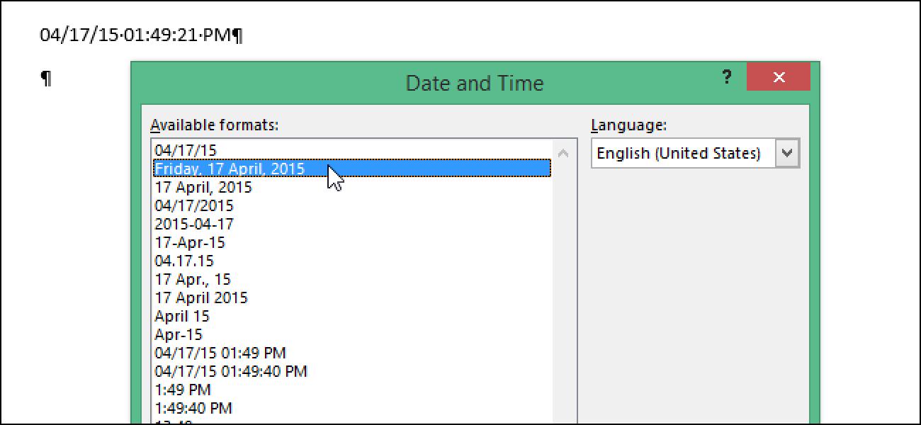 Festlegen der in Word verwendeten Standardformate für kurzes und langes Datum und Uhrzeit