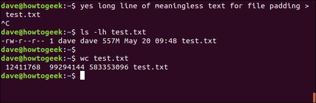 Generieren von Testdateien mit Ja ua Terminalfenster