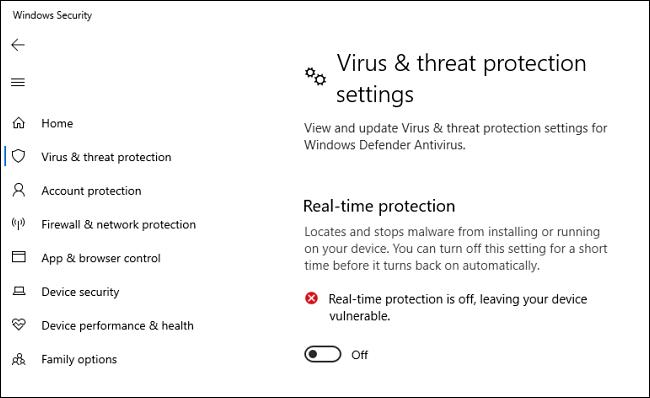Windows 10 Defender Antivirus-Echtzeitschutzoption deaktiviert