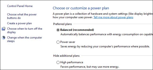 Drei Optionsfelder mit Energieplanoptionen in der Windows 10-Systemsteuerung