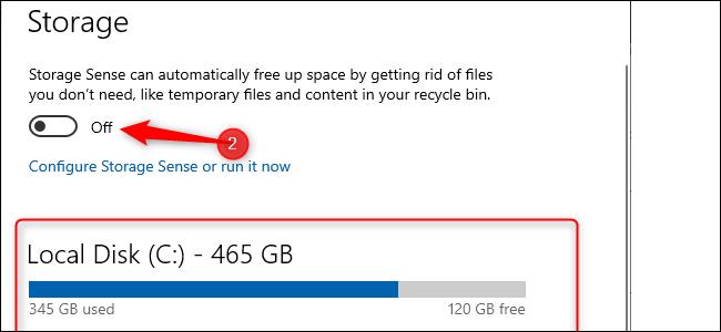 Windows 10-Speichereinstellungen.  Ein blaues Balkendiagramm zeigt die Menge des verwendeten Speichers an