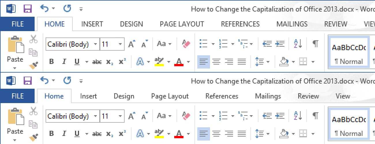 So ändern Sie die Großschreibung der Multifunktionsleistenleiste von Office 2013