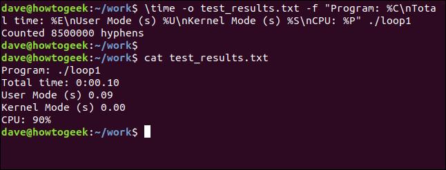 Ausgabe der Formatzeichenfolge für loop1, die in einem Terminalfenster an die Datei weitergeleitet wird